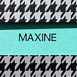 Maxine: Gossip Girl: houndstooth folder with black, silver and turquoise