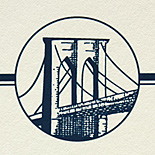 Bridge Medallion: wedding invitations exclusively from PostScript Brooklyn