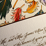 Cristina and Brian: custom calligraphy, thermography printed suite with Florentine feather liner