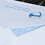 Alicia and Lisa: custom Cape cod design letterpressed in navy