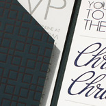 Christina and Christian: navy and grey letterpress, custom printed pocket folder