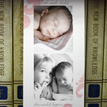 Quinn: birth announcement with color and black and white photos