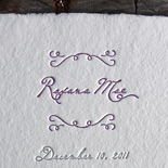Roxana: this adorable baby annoucement is letterpressed in two shades of purple on handmade cream paper.