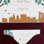 Yvette and Michael: Montague Street - Apt. B exclusively from PostScript Brooklyn, digitally printed in copper, deep green and custom color to match pocket fold