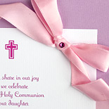 Communion invitation custom mounted on Rossler Paper stock with rhinestone and ribbon