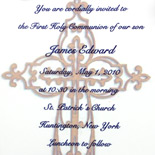 Communion invitation with vellum overlay, graphic design and ribbon
