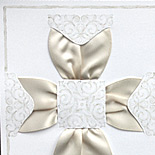 Imprintable Communion invitation with ribbon