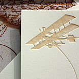 Carrie and David, Come Fly with Me suite from PostScript Brooklyn (customized), letterpress destination wedding suite with vintage map liner