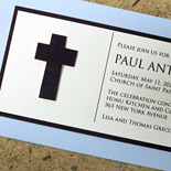 Paul: Communion invitation, linen stock with 3-dimensional cross