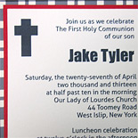 Jake: Communion invitation, plaid backer card with linen layers