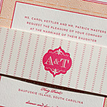 Andrea and Taylor: fuchsia and creamsicle letterpress invitation suite with gold edging and custom printed cocktail napkins to match