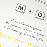 Marisa and Douglas: Scrabble theme invitation, digitally printed in squash and charcoal inks