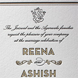 Reena and Ashish: two ply, two color letterpress invitation with Ganesh motif