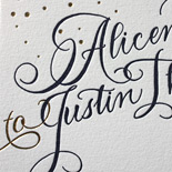 Alicen and Justin: confetti and calligraphy style letterpress invitation on cotton paper