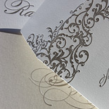 Ashley and Ralph: letterpressed wedding invitation suite with metallic bellyband, gold edging, and customized beach images