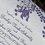 Jocelyn and Joshua: Montgomery Place suite from PostScript Brooklyn letterpress printed in plum