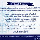 Marcie and Derek: custom boarding pass program, digitally printed using vintage font collection