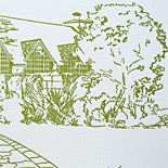 Mia and Brian: custom illustration of wedding location, letterpressed on cotton paper in moss and black
