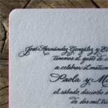 Paola and Michael: hand calligraphed multi-lingual suite, engraved in black on duplex card stock with hot pink edging
