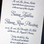 Susan and Steven: invitation letterpressed in navy with reveal backer