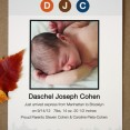 Daschel: birth announcement using NYC subway letters and NYC skyline, from PostScript Brooklyn