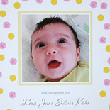 Lena: polka dots and photo birth announcement