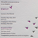 Emily: letterpressed Bat Mitzvah invitation featuring migrating birds