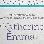 Katherine: cute, layered festive Bat Mitzvah invitation in turquoise and purple with matching liner