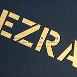 Ezra: Bar Mitzvah invite with laser cut pocket folder and gold metallic insert piece