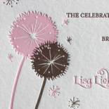 Madeline: two color letterpress Bat Mitzvah invitation with dandelion motif