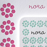 Norah: sweet 3 color letterpress Bat Mitzvah invitation