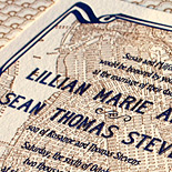 Lillian and Sean: Liberty View custom variation, featuring Brooklyn Street map letterpressed in two colors with an art deco border and liner in copper and navy