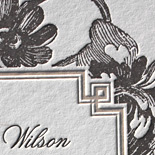 Meagan and Patrick: vintage floral motif, letterpressed