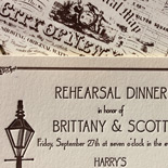 Brittany and Scott: vintage New York City themed letterpressed wedding invitation featuring street lamp, topographical map of the City of New York and champagne glasses