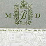 Mijin and David: custom illustration of chateau, with custom crest on belly band