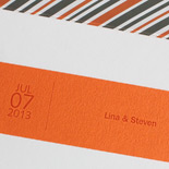Lina and Steven: Caribbean inspired grey and orange pocket folder with belly band, thermographed