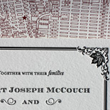 Robert and Jeffrey: custom PostScript Brooklyn design featuring the Coney Island Avenue border plus maple leaf and the Fort Greene fall foliage, letterpressed with map liner