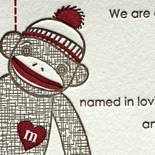 Micah: letterpress sock monkey birth announcement and thank you card with adorable stitching motif