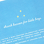 Jennifer: sweet baby shower invitation in blue with a constellation of stars