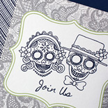 Michelle and Cris: digitally printed Mexican Riviera wedding invitation featuring Day of the Dead bride and groom