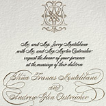 Nina and Andrew: custom wedding invitation and save the date sharing a deer motif, with lovely calligraphic font and monogram in black letterpress and gold foil
