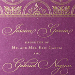 Jessica and Gabriel: invitation on shimmer plum double thick card stock with gold ink and scalloped edge