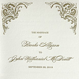 Brooke and John: elegant wedding program letterpressed in gold ink