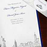 Claire and Daniel: Manhattan skyline wedding program and New York taxicab stickers