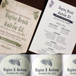 Regina and Andrew: Washington Square invitation, exclusively from PostScript Brooklyn, program, stickers