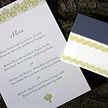 Letterpressed menu and matching digitally printed place card