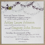 Ashley and Gregory: charming floral motifs and garlands are highlights of this springtime wedding invitation with sparkle backer