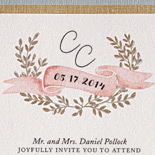 Caitlyn and Christian: elegance meets folksy charm in this collection featuring a ribbon pocket, lovely banner and wreath illustrations, calligraphic motif, and gentle pastel pallet