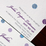 Julia: polka dot sparkles adorn this festive Bat Mitzvah invitation
