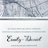 Emily and Daniel: letterpress and foil stamped wedding invitation with Brooklyn map liner